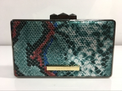 Python Snakeskin Faux Leather Box Clutches PU Leather Evening Handbag HH-PU5203