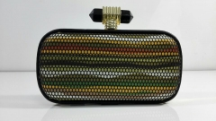 Mesh Colorful Wave Pattern Polyurethane Clutch Bag PU Leather Evening Purses HH-P5422