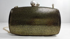 Gold Lizard Faux Leather Bridal Prom Handbag Party PU Clutch Evening Bags HH-PU12227