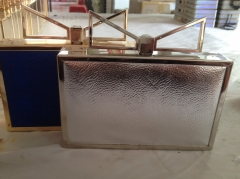 Metallic PU Leather Box Clutch Evening Bags with Metal Clasp HH-PU32563