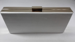 White Snakeskin Faux Leather Metal Frame Box PU Leather Evening Purse PU51052