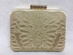 Satin Embroidery Pattern Metal Case Evening Clutch Purse HH-SA25240