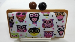 Wood Frame with Printing Pattern Fabric Evening Box Clutch Bag WD1560