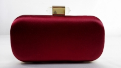 Red Satin Evening Clutch Crossbody Handbag Clear Resin Clasp with Chain SA60809