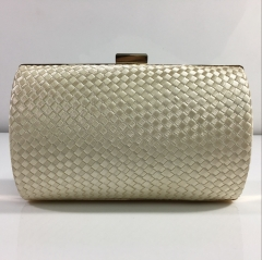 Gold Satin Weaving Evening Clutch Purse Hard Case with Metal Frame SA65611