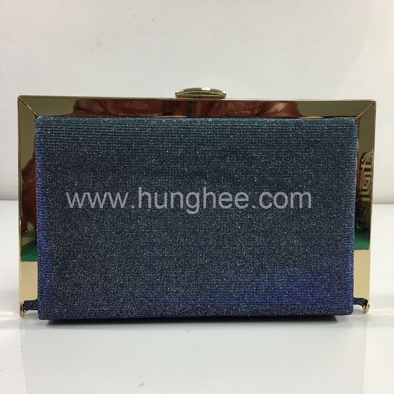 Blue Glitter Fabric Hard Case Evening Bags Box Clutches Gold Plating Metal Frame HH-HD83583