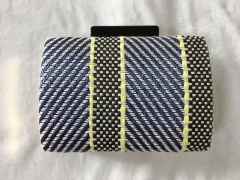 Blue and Black Weaving Fabric Hard Clutches with Black Resin Closure HD12828