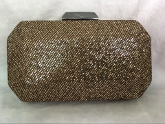 Gold Glitter Evening Handbag GunMetal Purse Hard Case Clutch Evening Bags GLT13016