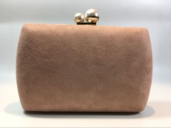 Pink Faux Suede Hard Case Party Prom Bride Evening Bags Clutches Pearl Clasp HD63848