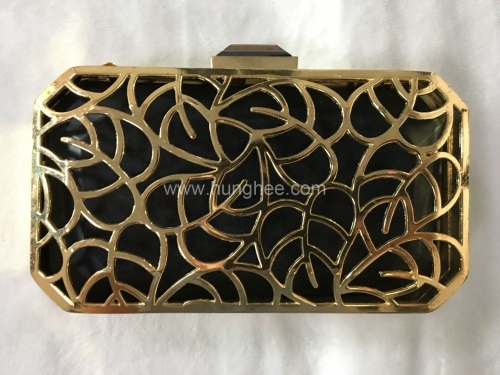 Leaves Wrap Pattern Metal Frame Evening Clutch Bags Crystal Clasp MT12213