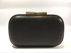 Black Calfskin Faux Leather Metal Case Evening Clutch Purses PU23734