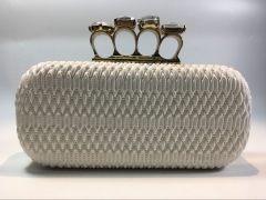 White Fold Sheepskin Faux Leather Hard Case Evening Clutch Bags Rhinestone Knuckle Clasp PU43820