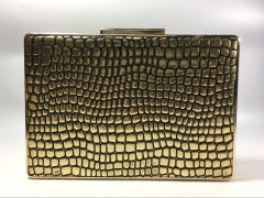Gold Lizard Faux Leather Hard Clutches Evening Clutch Purse Handbag PU13633