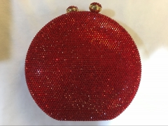 CR15123 Sparkling Round Shape Hot-fixed Red Crystal Evening Bag with Full Rhinestone Clutch Purse for Wedding Party