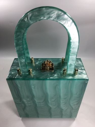 AC52012 - Green Acrylic Box Clutch with Top Handle Box Clutch Bag Handbags